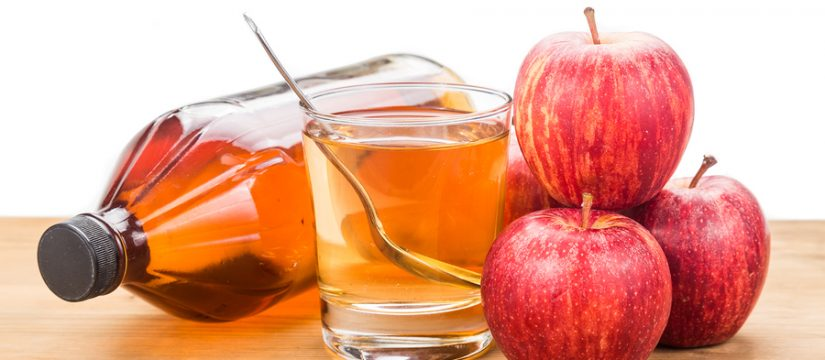 Apple cider vinegar in jar glass and fresh apple healthy drink.