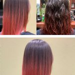 Before and after a client got her hair done at Green Turtle Salon